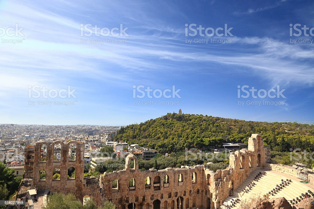 Herodion ruins with cityscape view, Athens Greece stock photo