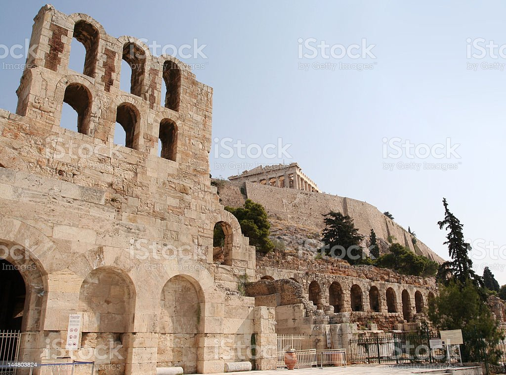 Herodion theatre at the Acropolis stock photo