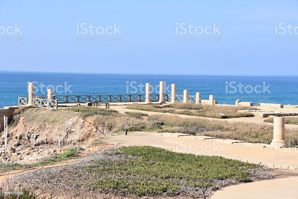 Herods Promontory Palace in Caesarea Maritima National Park stock photo