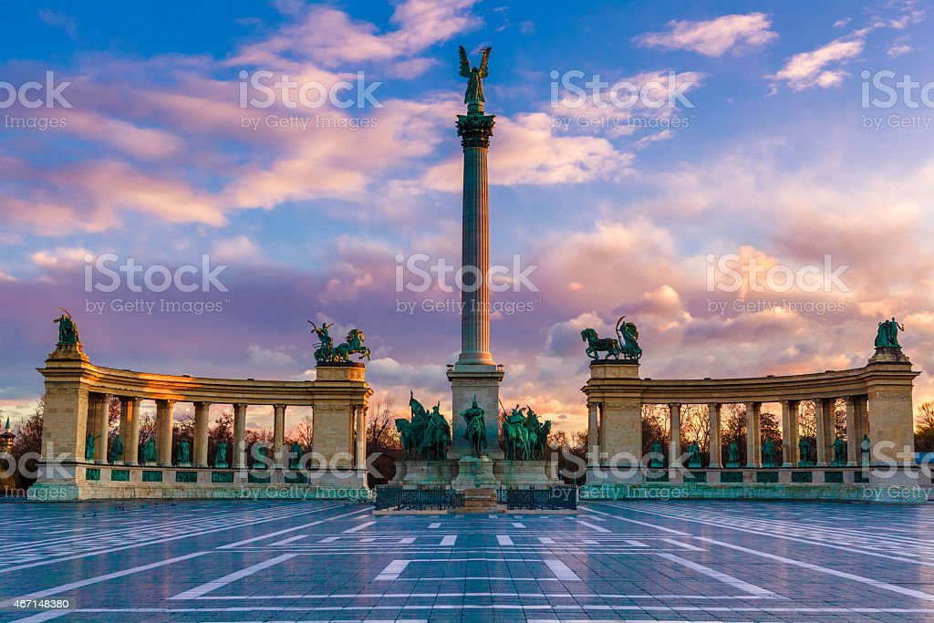 Heroe's Square, Budapest stock photo