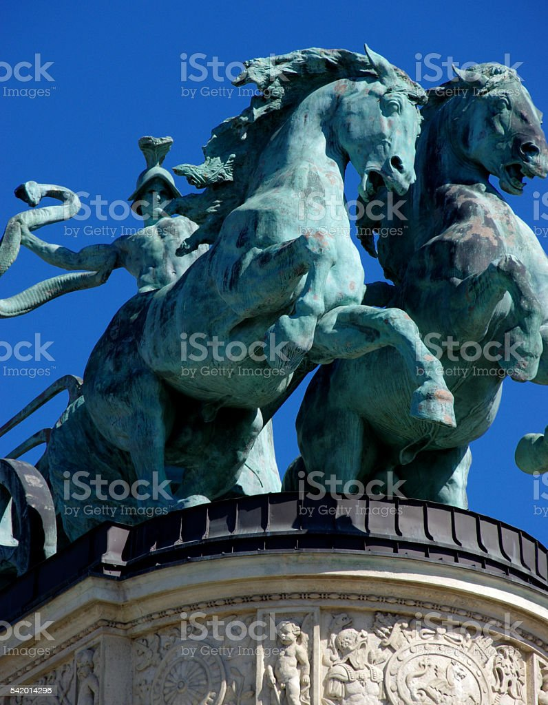 Heroes Square Detail, Budapest stock photo