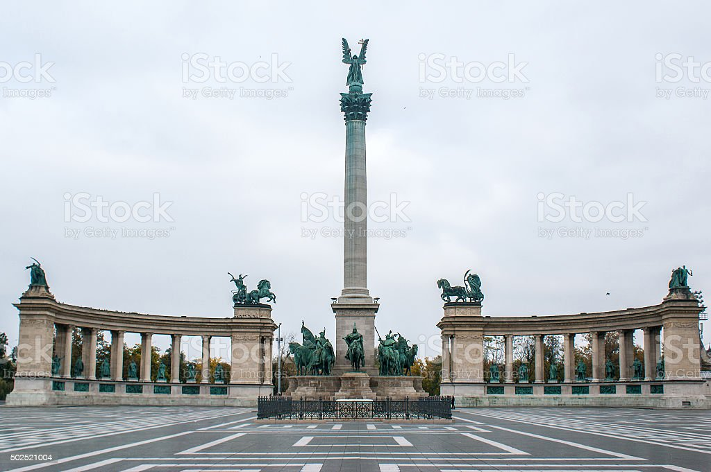 Heroes Square in Budapest, the capital of Hungary stock photo