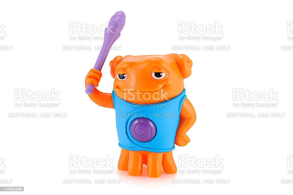 Heroic OH alien orange color toy character stock photo