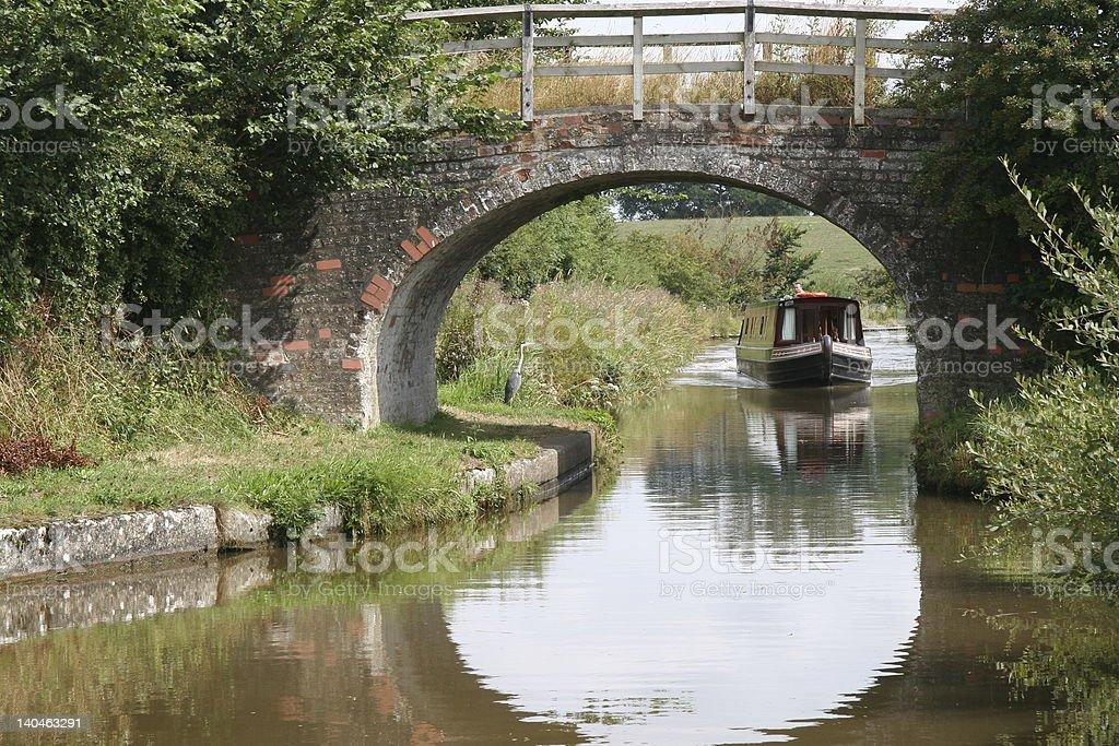 Heron & Canal Boat royalty-free stock photo