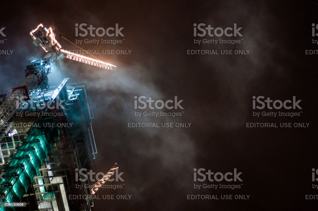 Heron Tower construction in the mist stock photo