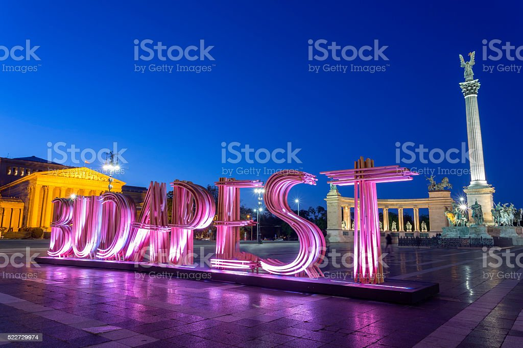 Hero's Square in Budapest at night stock photo