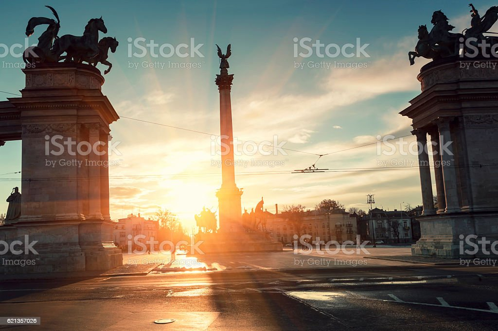 Hero's Square in Budapest at sunset stock photo