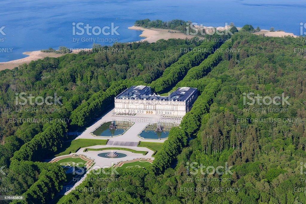 Herrenchiemsee Palace, Aerial view -  Bavaria stock photo