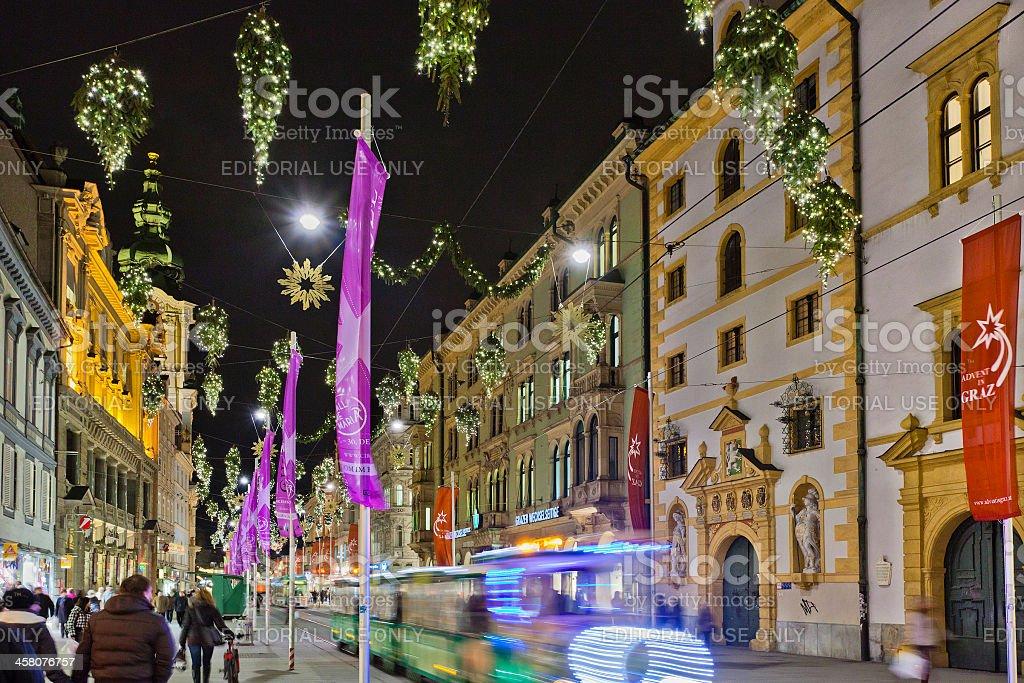 Herrengasse at Christmas, Graz royalty-free stock photo