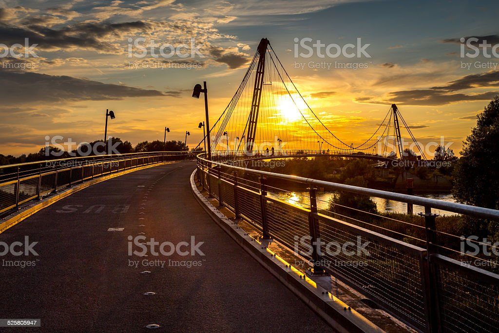 'Herrenkrug' bridge in Magdeburg stock photo