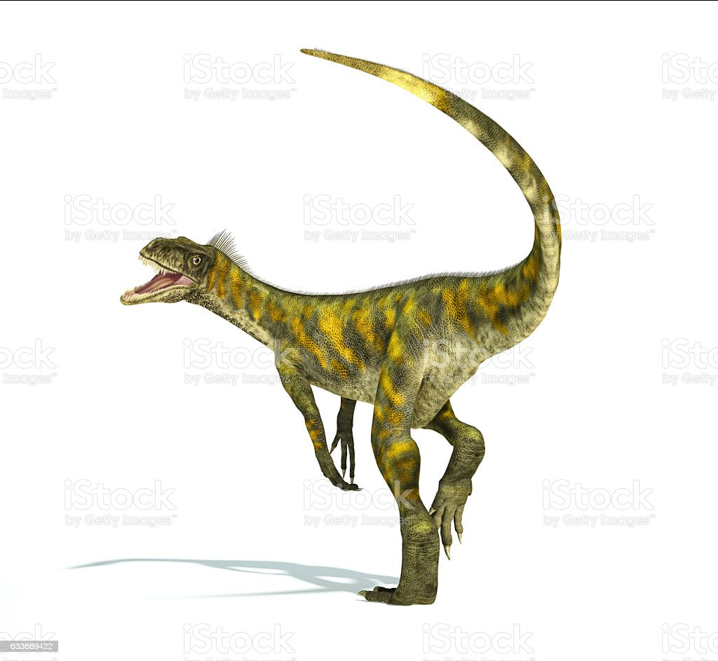 Herrerasaurus dinosaur, photorealistic representation. Dynamic v stock photo