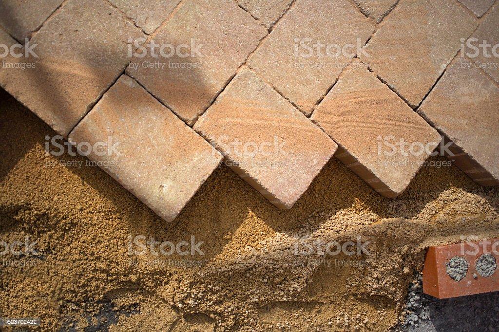 Herring Bone effect paving slabs stock photo