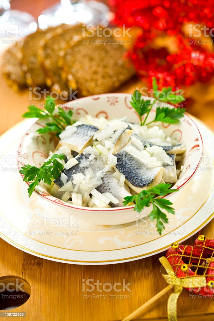 Herring with onions stock photo