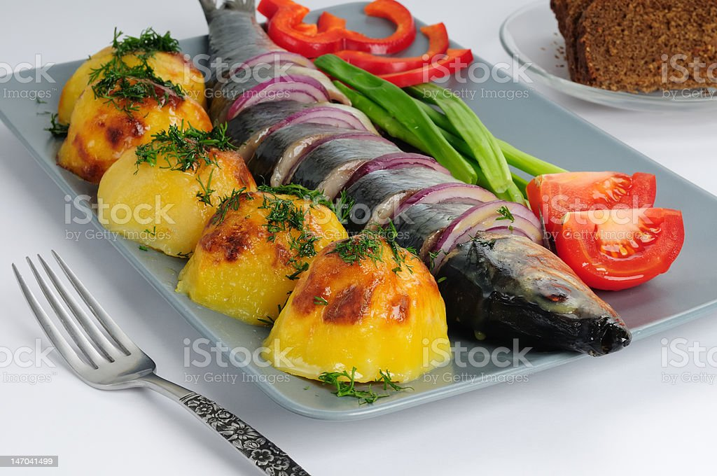 Herring with the baked potato royalty-free stock photo