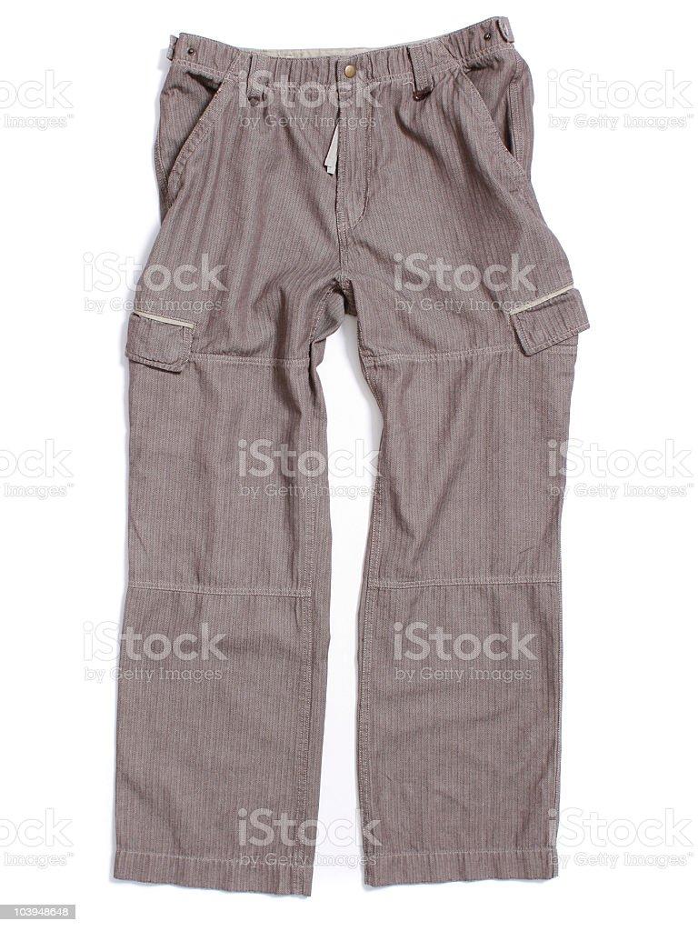 Herringbone Cargo Pants on White Background stock photo