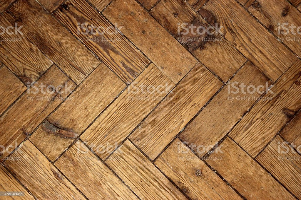 Herringbone wood floor stock photo