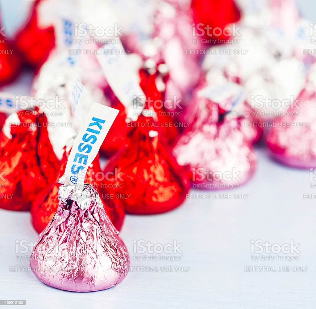 Hershey Kisses Candy for Valentine's Day stock photo
