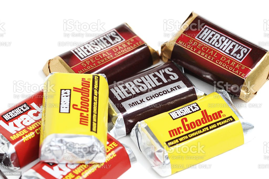 Hershey's chocolate snack candy pieces stock photo