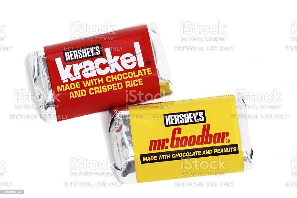 Hershey's Mr Goodbar and Krackel candy bars stock photo