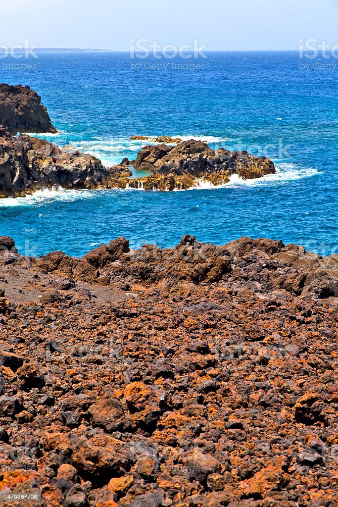 hervideros brown rock in    stone water  and summer stock photo