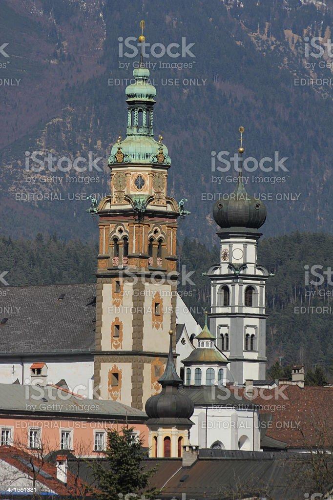 Herz-Jesu-Basilika and Jesuitenkirche are impressibe churches, Hall in Tyrol, Austria royalty-free stock photo