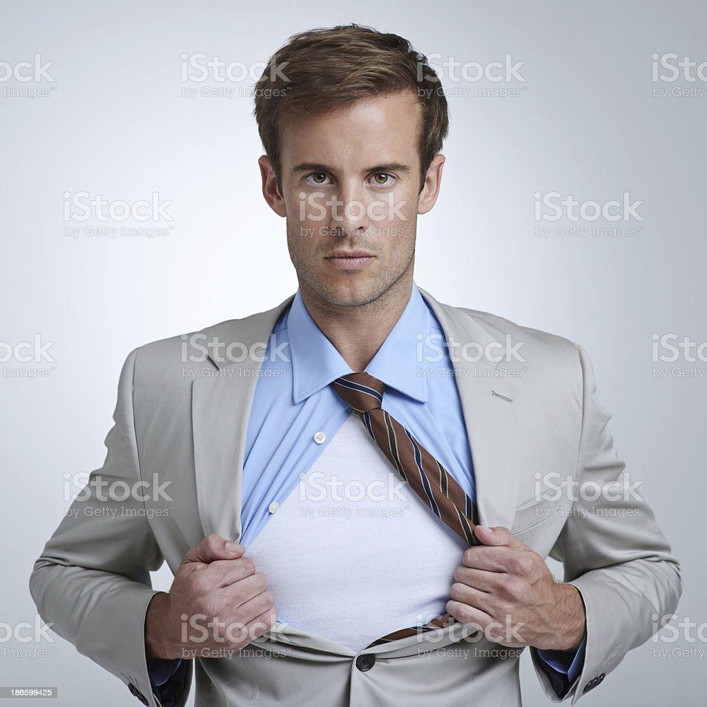 He's a corporate superhero stock photo