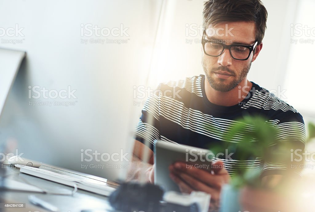 He's a design pro at work stock photo