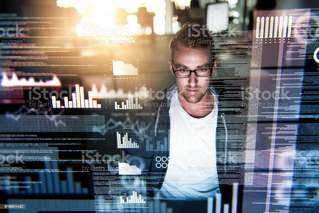He's a gifted programmer stock photo