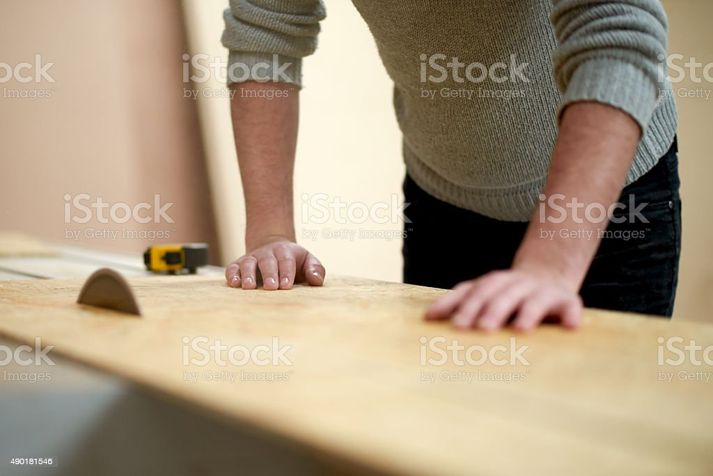 He's a highly skilled carpenter stock photo
