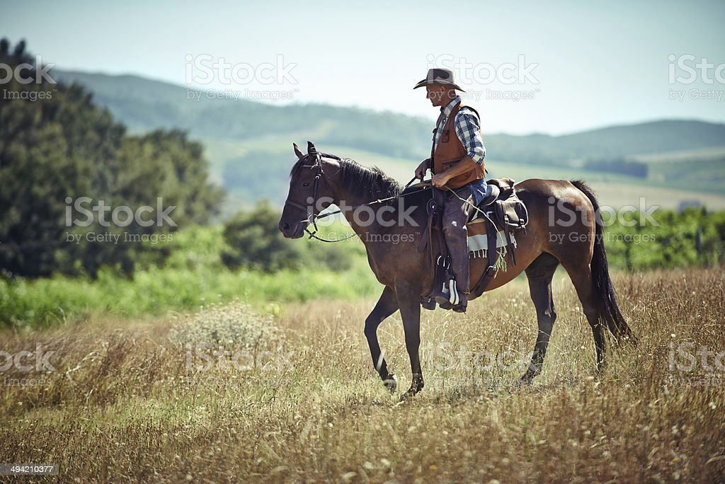 He's a lone rider royalty-free stock photo