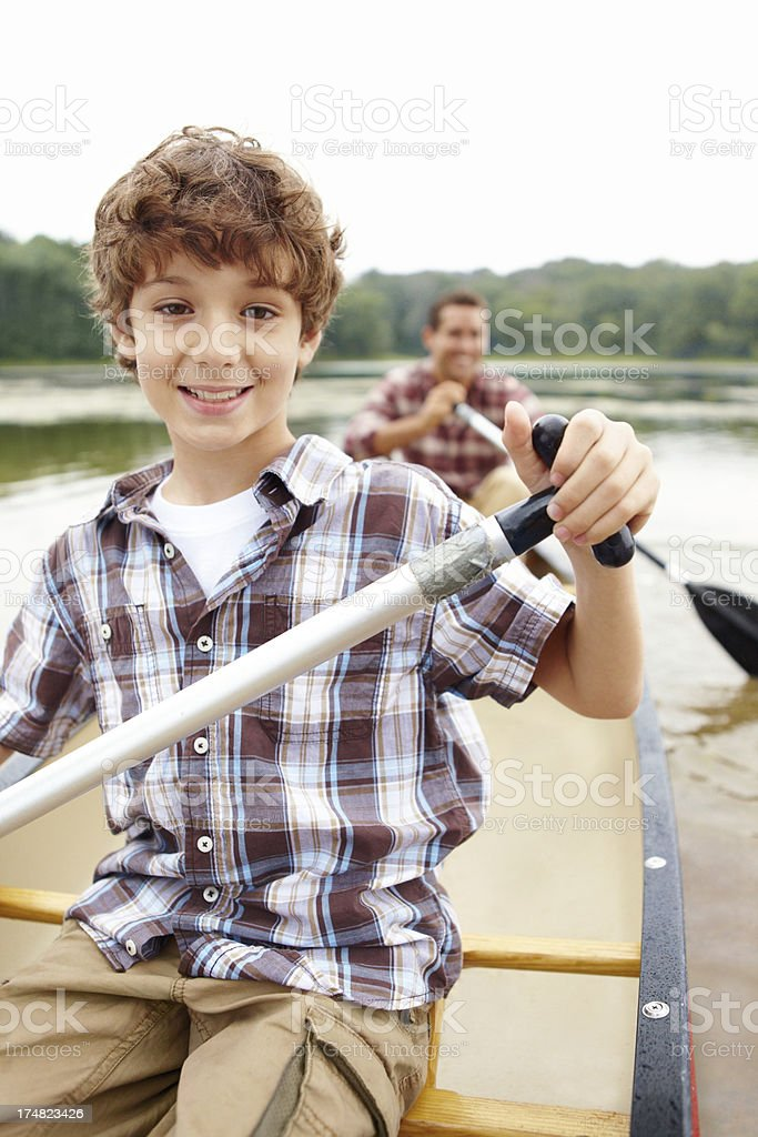 He's a natural when it comes to canoeing! royalty-free stock photo