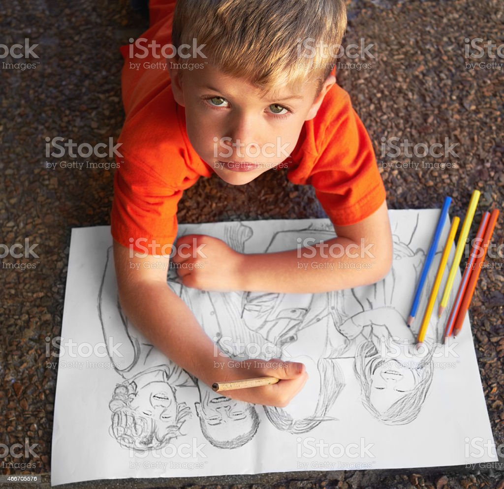 He's a talented sketch artist! stock photo