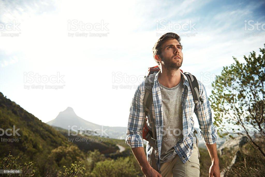 He's a trail blazer stock photo