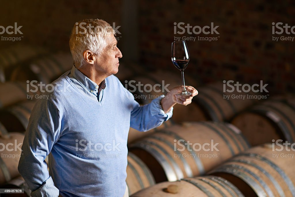 He's a wine connoisseur stock photo