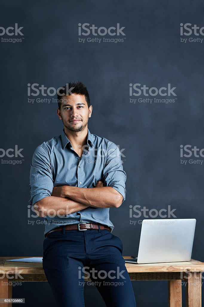He's all about launching ideas onto the path of success stock photo