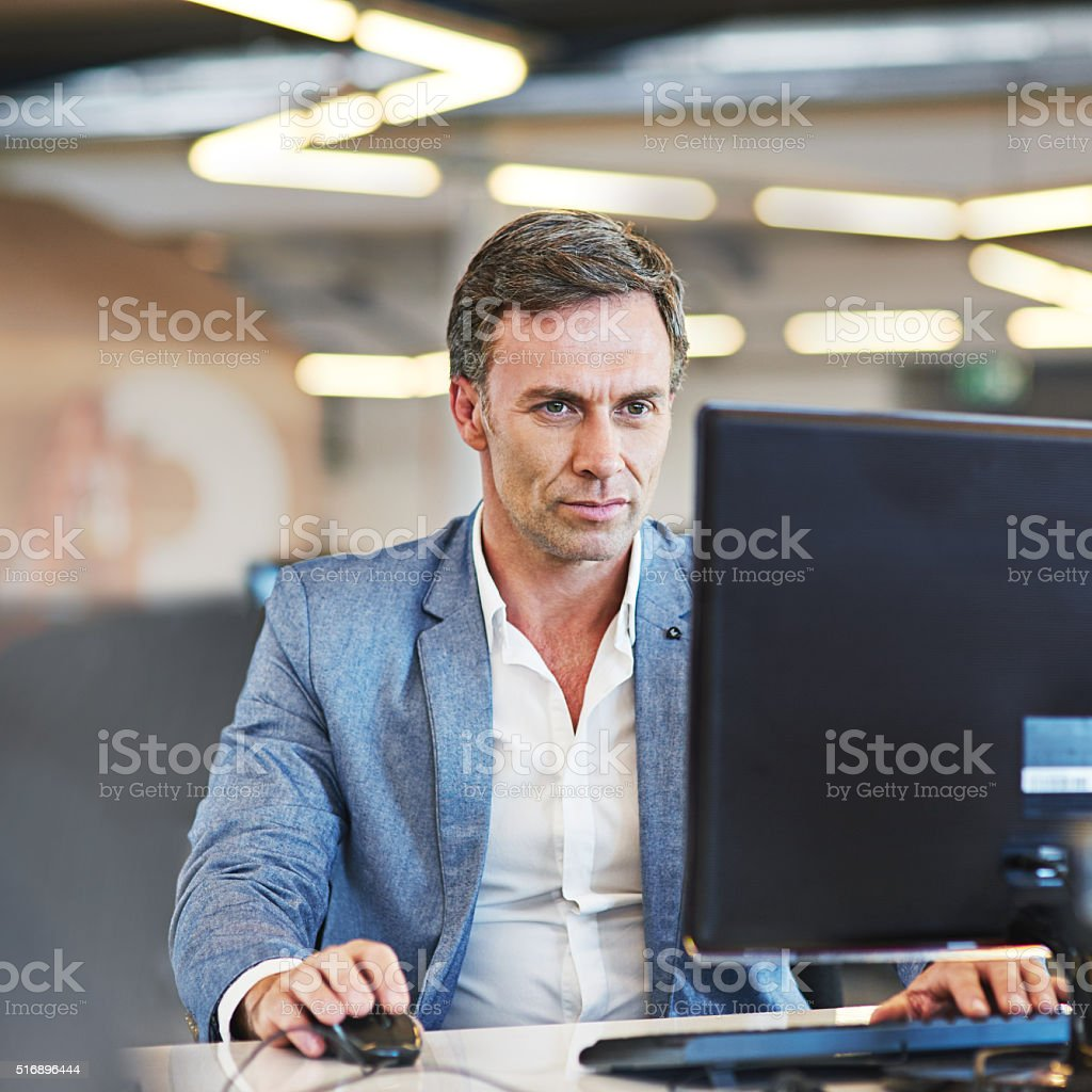 He's always one step ahead of online business trends stock photo