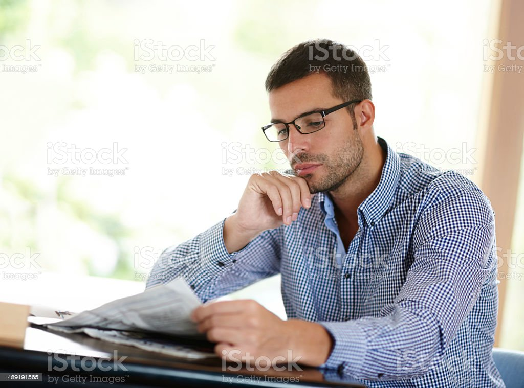He's always up to speed on the latest news royalty-free stock photo