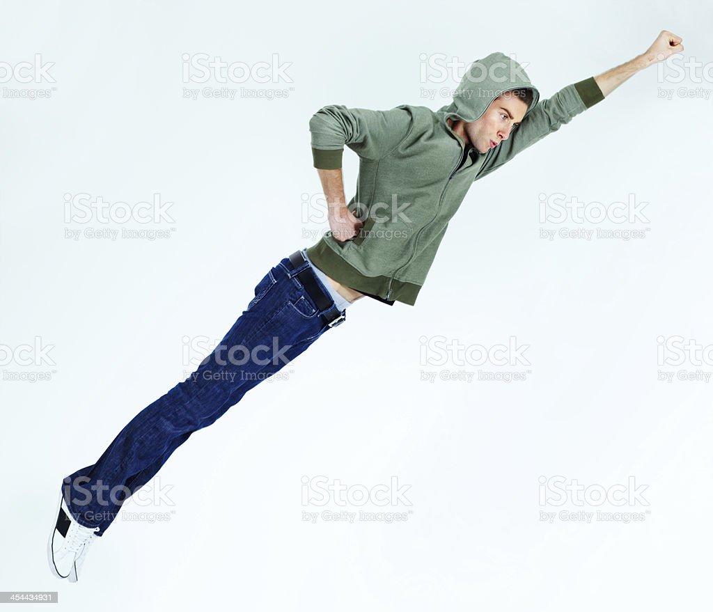 He's an airborne superhero stock photo