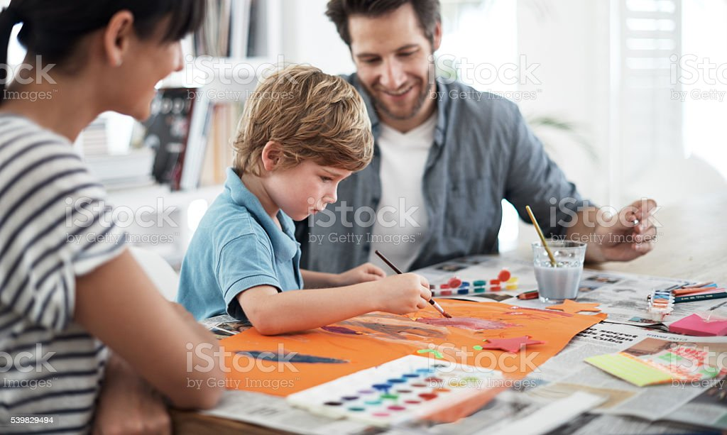 He's an artist in the making stock photo