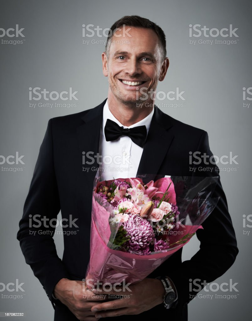 He's an old-fashioned suitor stock photo