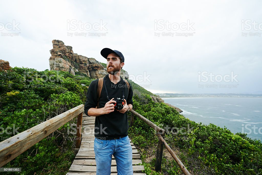 He's and adventurer at heart stock photo