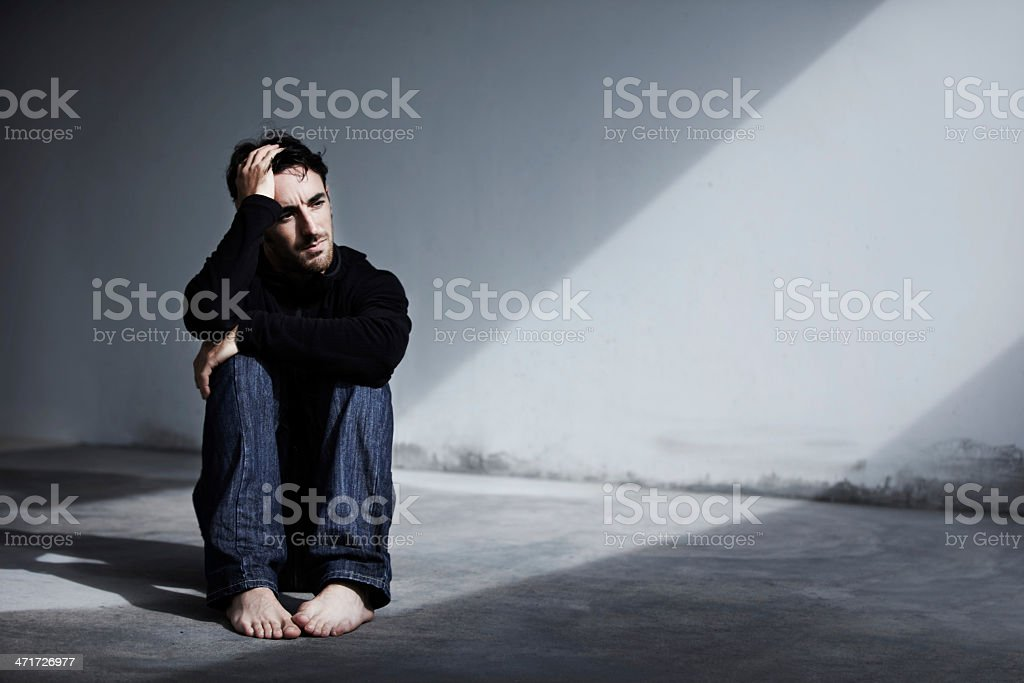 He's been suffering from depression lately stock photo