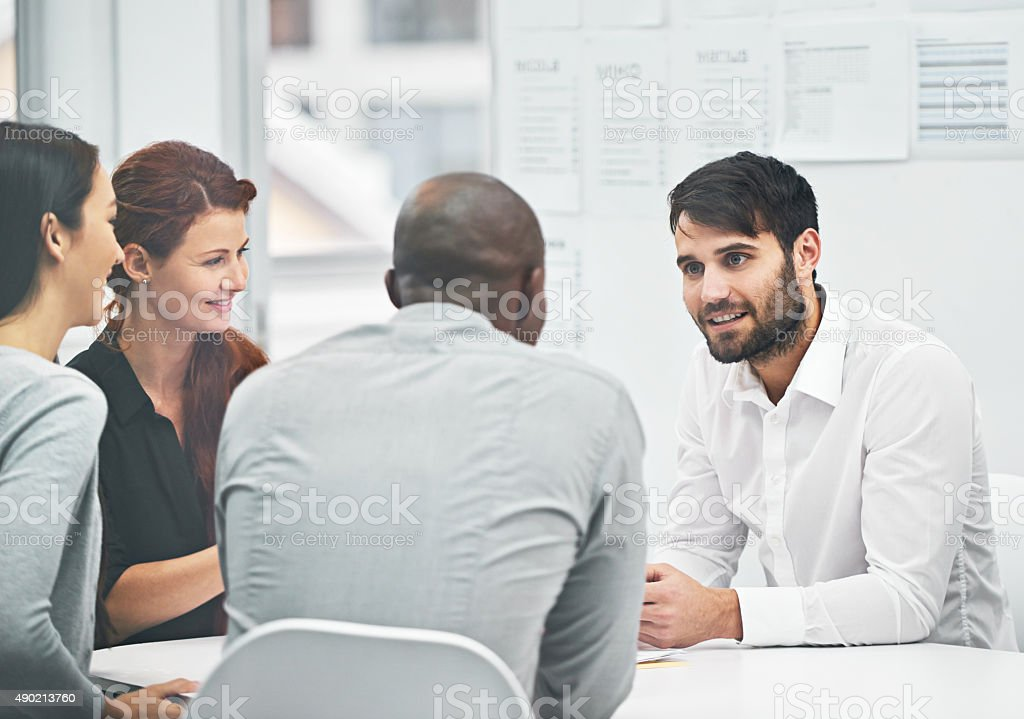 He's bringing fresh ideas to the table stock photo