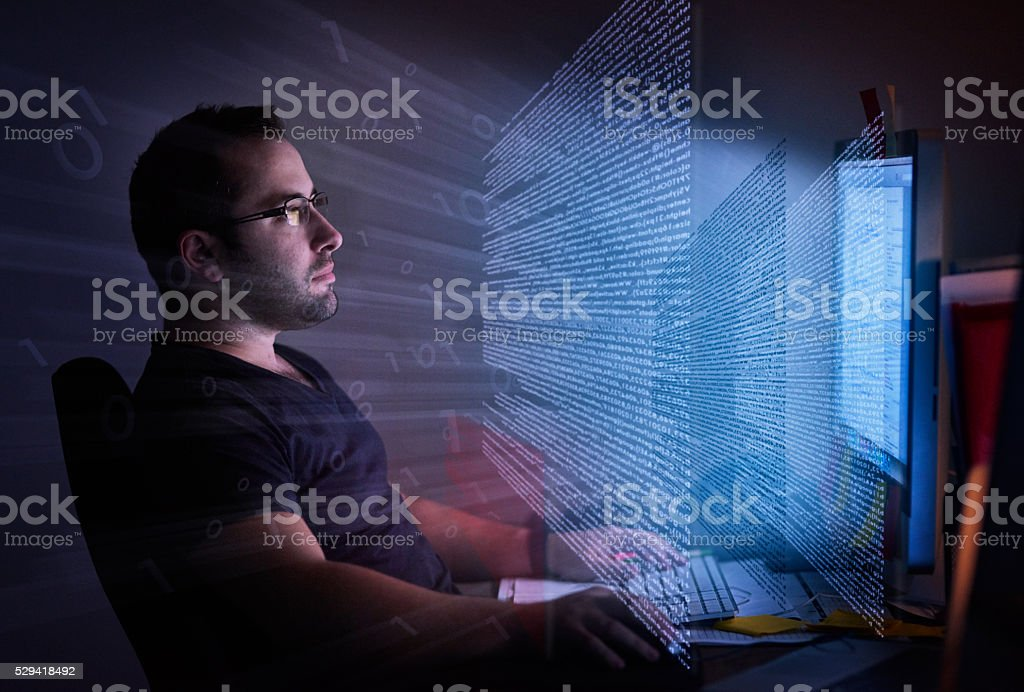 He's embedded in the code royalty-free stock photo