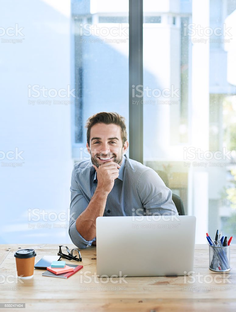He's exceeding all his targets stock photo