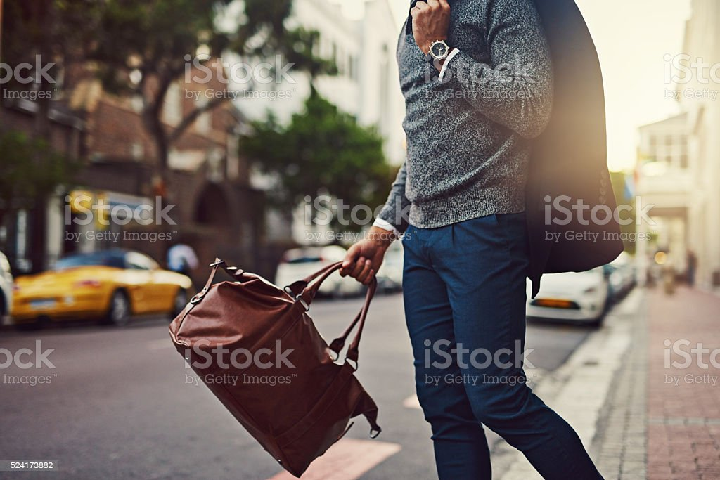 He's fashionably on his way stock photo