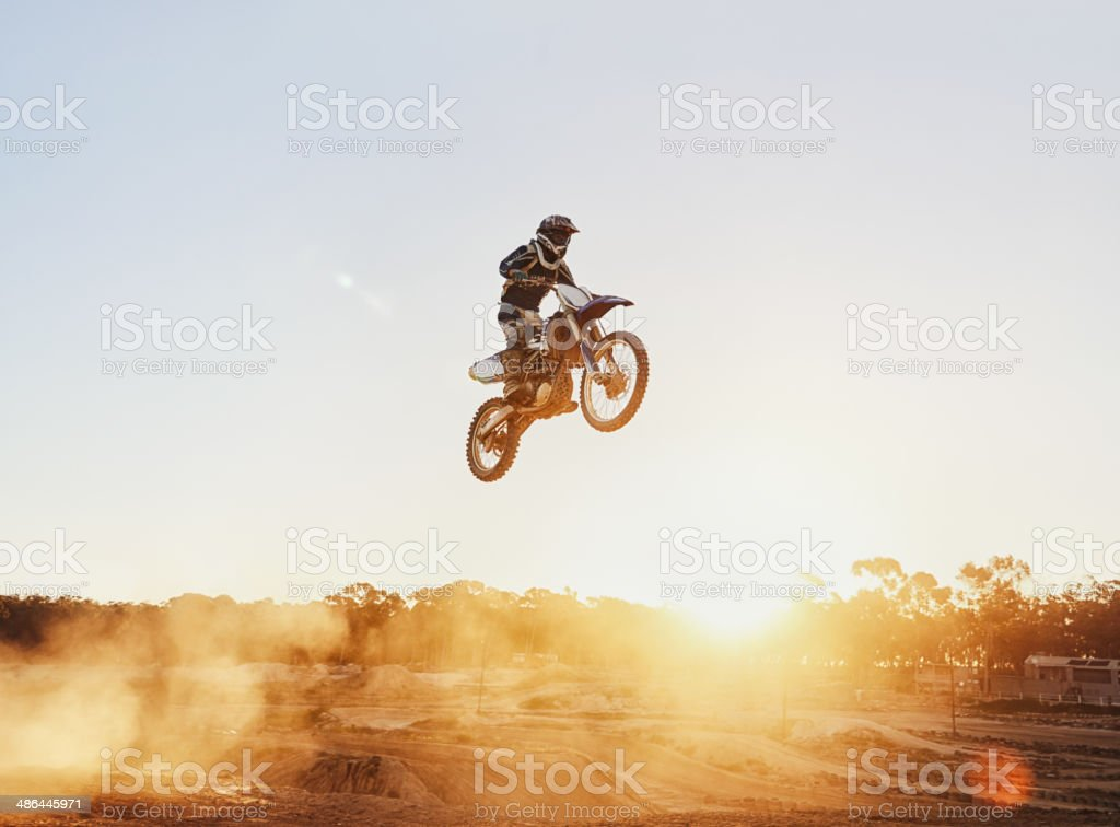 He's flying through the air stock photo