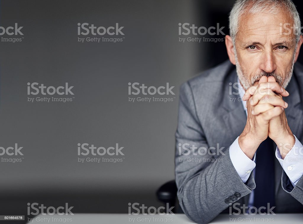 He's focused and ready for anything stock photo