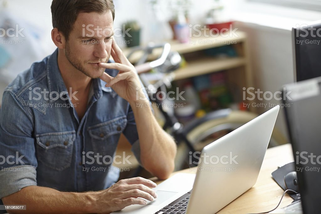 He's focused on his work royalty-free stock photo