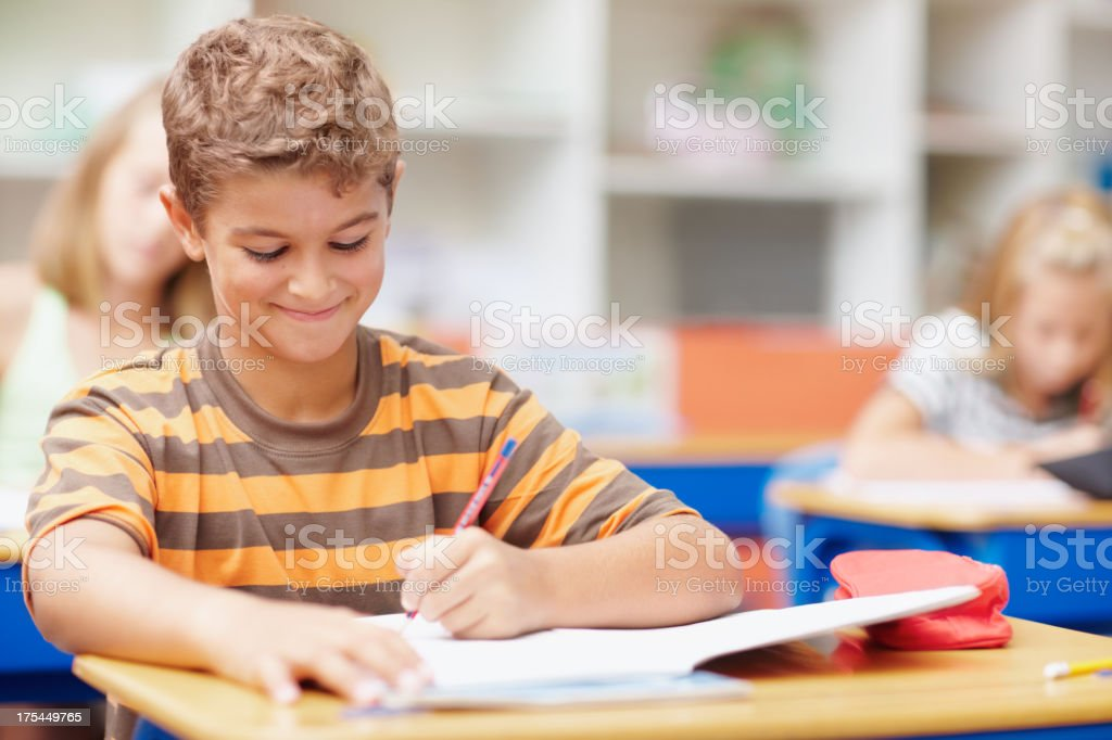 He's getting the most out of his education stock photo